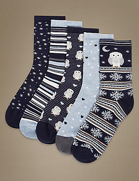 5 Pair Pack Freshfeet™ Supersoft Socks with Silver Technology, NAVY MIX, catlanding