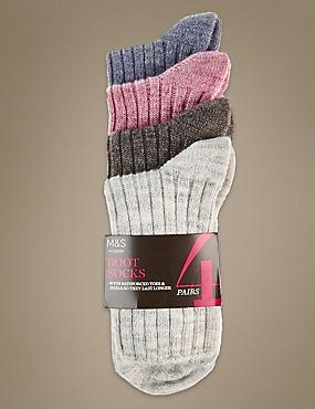 4 Pair Pack Ankle High Socks , GREY MIX, catlanding