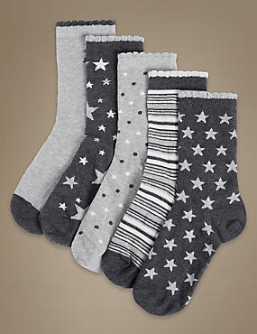 5 Pair Pack Ankle High Socks with Silver Technology, GREY MIX, catlanding