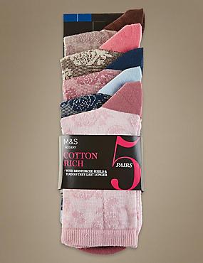 Lot de 5paires de chaussettes fleuries hauteur cheville, ROSE ASSORTI, catlanding