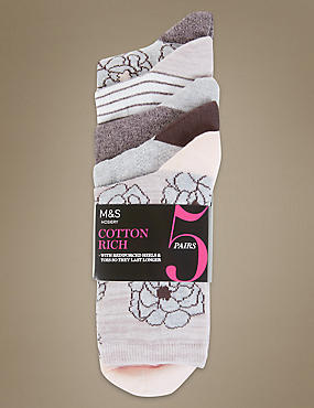 5 Pair Pack Floral Ankle High Socks, PINK MIX, catlanding