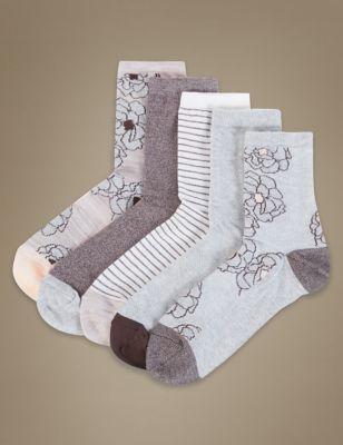 Носки с цветочным узором в ассортименте (5 пар)