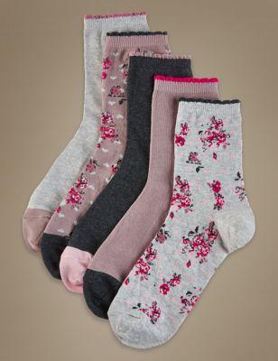 Носки в цветочек в ассортименте (5 пар)