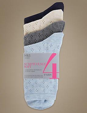 4 Pair Pack Ankle High Pointelle Socks, MULTI, catlanding