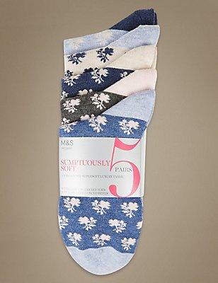 5 Pair Pack Floral Print Ankle High Socks, MULTI, catlanding