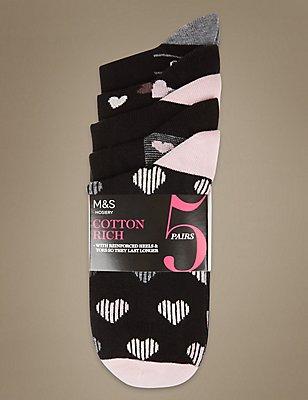 5 Pair Pack Heart Print Ankle High Socks, BLACK MIX, catlanding