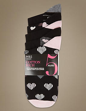 5 Pair Pack Heart Print Ankle High Socks, BLACK MIX, catlanding