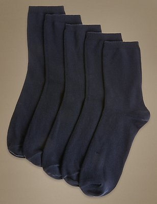 5 Pair Pack Cotton Rich Ankle High Socks, NAVY, catlanding