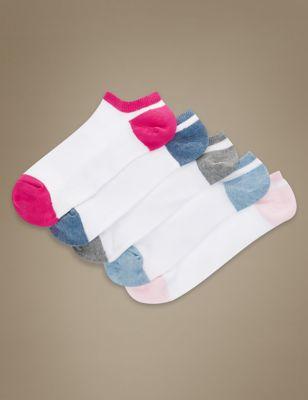 Низкие спортивные носки с цветным кантом в ассортименте (5 пар)