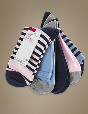 5 Pair Pack Cotton Rich Ankle High Assorted Socks, NAVY MIX, catlanding