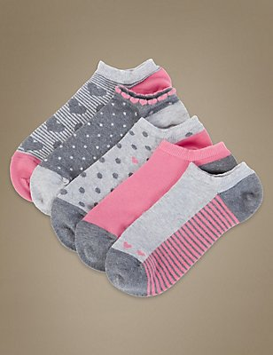 5 Pair Pack Printed Trainer Liner Socks, GREY MIX, catlanding