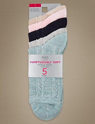 5 Pair Pack Supersoft Ankle High Socks, GREY MIX, catlanding