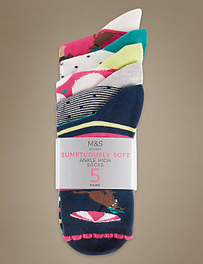 5 Pair Pack Sumptuously Soft Ankle High Socks, BRIGHT PINK MIX, catlanding