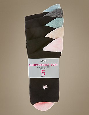 5 Pair Pack Ankle High Socks, BLACK MIX, catlanding