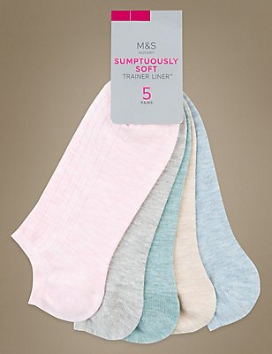 5 Pair Pack Ribbed Trainer Liner Socks, GREY MIX, catlanding