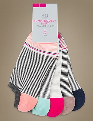5 Pair Pack Striped Trainer Liner Socks, GREY MIX, catlanding
