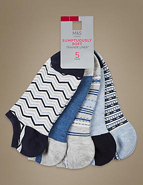5 Pair Pack Supersoft Trainer Liner Socks , DENIM MIX, catlanding