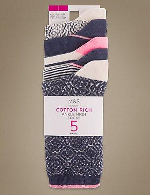 5 Pair Pack Cotton Rich Ankle High Socks, BLUE MIX, catlanding