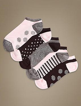 5 Pair Pack Sumptuously Soft Trainer Liner Socks, BLACK MIX, catlanding