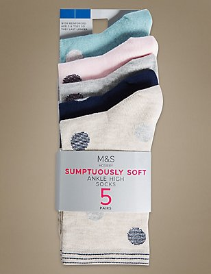 5 Pair Pack Sumptuously Soft Ankle High Socks, GREY MIX, catlanding