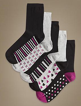 5 Pair Pack Cotton Rich Ankle High Socks, BLACK MIX, catlanding