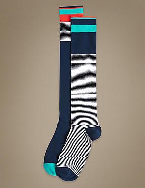 2 Pair Pack Cotton Rich Knee High Socks, NAVY MIX, catlanding