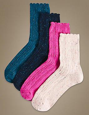 4 Pair Pack Cotton Rich Heavyweight Ankle High Socks, PINK MIX, catlanding