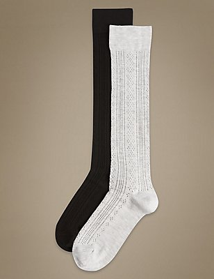 2 Pair Pack Sumptuously Soft Knee High Socks, BLACK MIX, catlanding