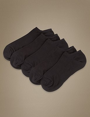No Show Ultimate Comfort Sports Trainer Liner™ Socks 5 Pair Pack, BLACK, catlanding