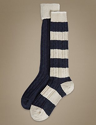 2 Pair Pack Cable Textured Thermal Knee High Socks, NAVY MIX, catlanding