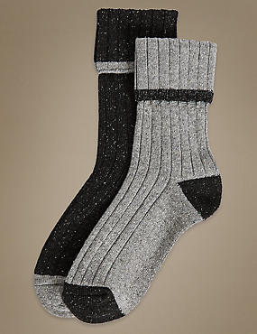 2 Pair Pack Textured Thermal Ankle High Socks, CHARCOAL MIX, catlanding