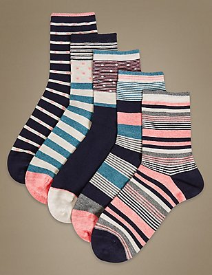 5 Pair Pack Sumptuously Soft Striped Ankle High Socks, TEAL MIX, catlanding