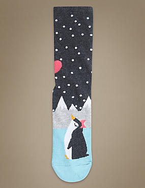 Cotton Rich Penguin Print Ankle High Socks, GREY MIX, catlanding