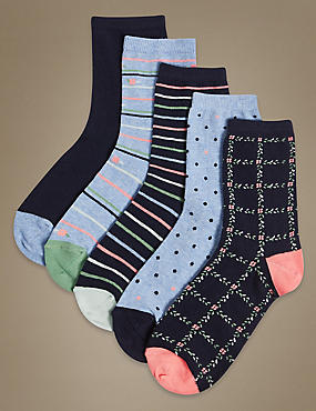 5 Pair Pack Cotton Rich Ankle High Socks, NAVY MIX, catlanding