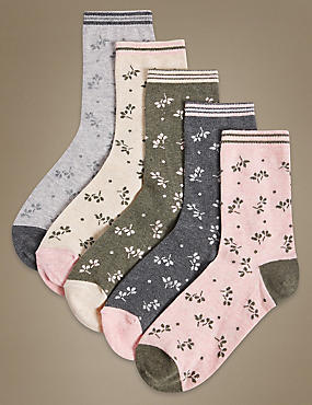 5 Pair Pack Cotton Rich Ankle High Socks, GREY MIX, catlanding