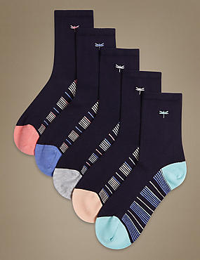 5 Pair Pack Sumptuously Soft Ankle High Socks, NAVY MIX, catlanding