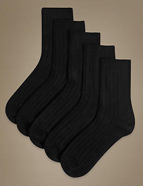 5 Pair Pack Heavyweight Sumptuously Soft Ankle High Socks, BLACK, catlanding
