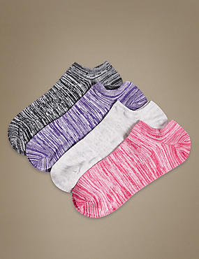 4 Pair Pack Cotton Rich Trainer Liner Socks, GREY MIX, catlanding