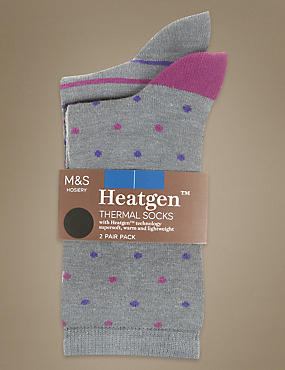 2 Pair Pack  Heatgen™ Pattern Ankle High Socks with Silver Technology, MAGENTA MIX, catlanding