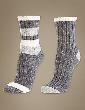 2 Pair Pack Thermal Socks, GREY MIX, catlanding