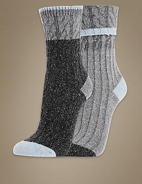 2 Pair Pack Thermal Cable Ankle High Socks, GREY, catlanding