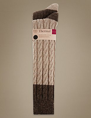 2 Pair Pack Thermal Cable Knee High Socks, OATMEAL, catlanding