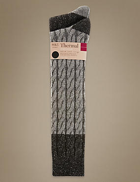 2 Pair Pack Thermal Cable Knee High Socks, GREY, catlanding