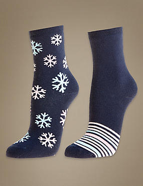 2 Pair Pack Thermal Socks , NAVY, catlanding
