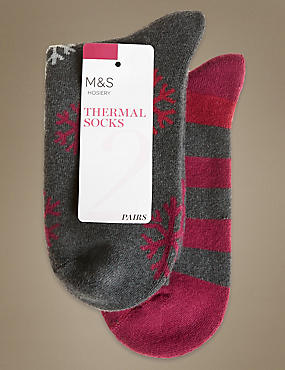 2 Pair Pack  Thermal Socks with Silver Technology, GREY, catlanding