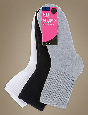 3 Pair Pack Cotton Rich Ankle High Socks, GREY MIX, catlanding