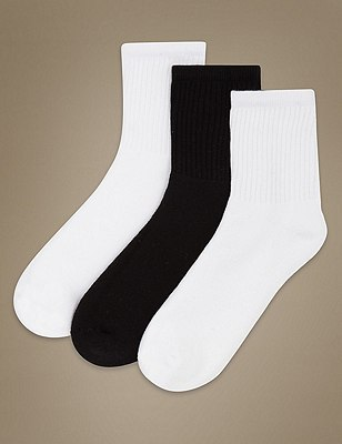 Sports Essential Ankle Socks 3 Pair Pack, WHITE MIX, catlanding