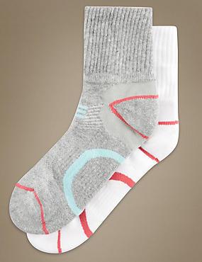 Lot de 2paires de chaussettes assorties hauteur cheville avec protection contre les ampoules , GRIS ASSORTI, catlanding