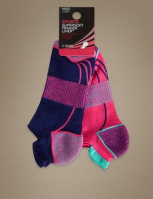 Supersoft Twist Performance Trainer Liner™ Socks 2 Pair Pack, NAVY MIX, catlanding