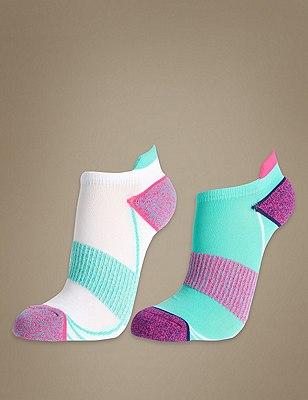 Supersoft Twist Performance Trainer Liner™ Socks 2 Pair Pack, AQUA MIX, catlanding